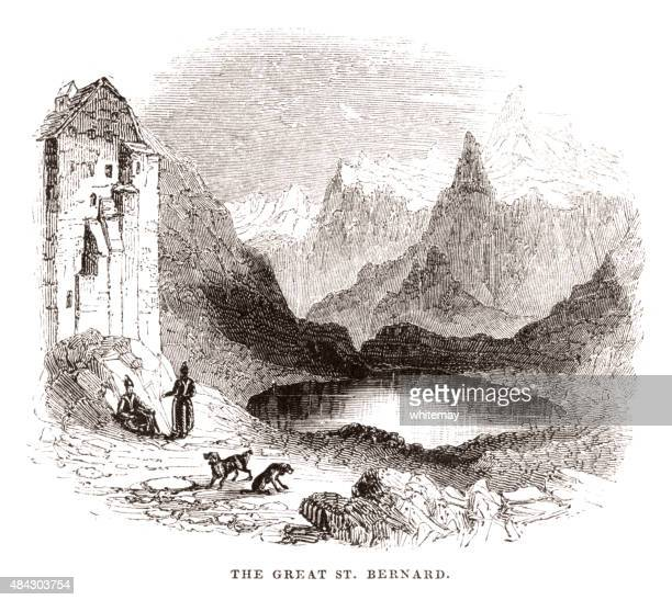 the great st bernard - valle d'aosta stock illustrations, clip art, cartoons, & icons