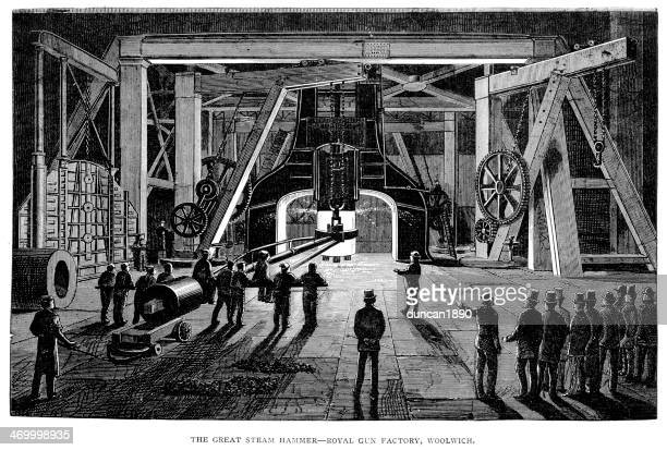the great steam hammer, woolwich - industrial revolution stock illustrations
