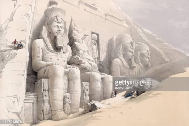 ilustrações de stock, clip art, desenhos animados e ícones de the great temple at abu simbel - megalith