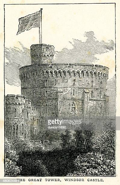 the great tower of windsor castle - windsor castle stock illustrations