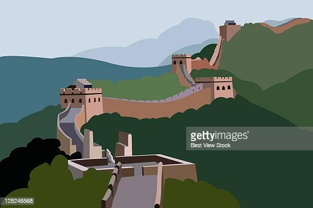ilustraciones, imágenes clip art, dibujos animados e iconos de stock de the great wall - granmurallachina