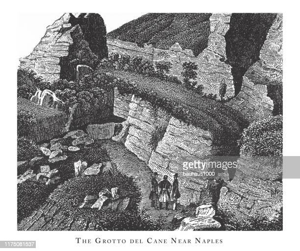the grotto del cane near naples, forests, lakes, caves and unusual rock formation engraving antique illustration, published 1851 - basalt stock illustrations, clip art, cartoons, & icons
