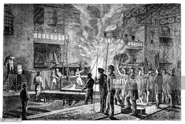 die gruson-fabrik in magdeburg - buckau wurde 1855 von hermann gruson gegründet, war später teil der friedrich krupp ag und entwickelte sich zu einem der bedeutendsten maschinenbau- und rüstungsunternehmen deutschlands - neunzehntes jahrhundert stock-grafiken, -clipart, -cartoons und -symbole