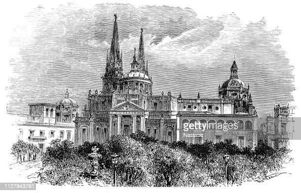ilustraciones, imágenes clip art, dibujos animados e iconos de stock de la catedral de guadalajara o catedral de la asunción de nuestra señora - guadalajara méxico