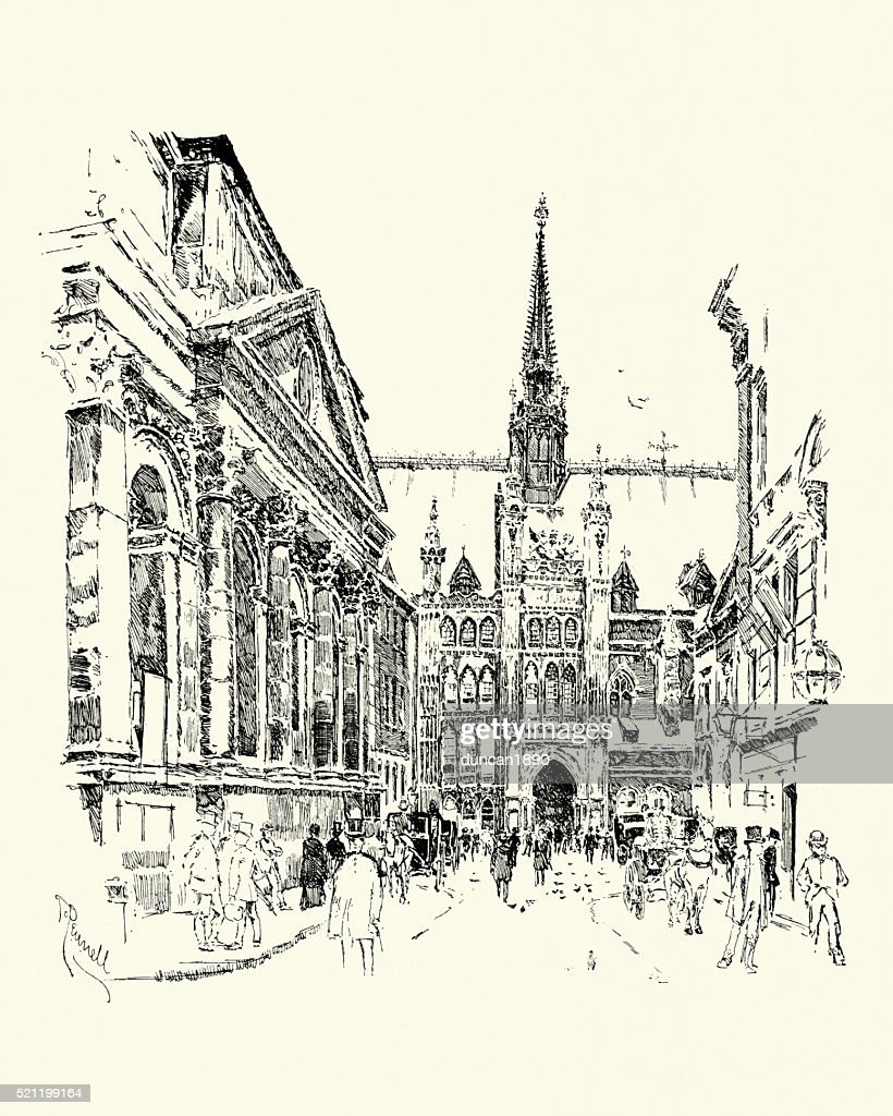 「ギルドホール、ロンドン、1900 : ストックイラストレーション
