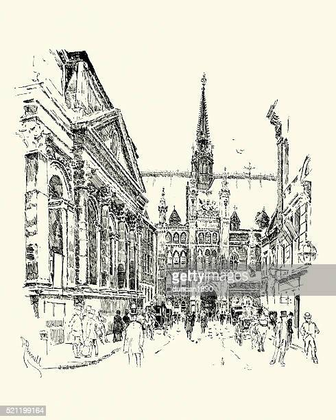 「ギルドホール、ロンドン、1900 - ギルドホール点のイラスト素材/クリップアート素材/マンガ素材/アイコン素材