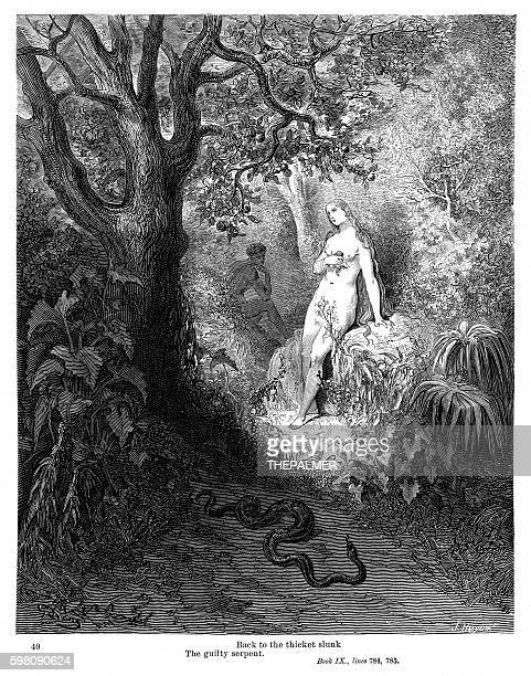 the guilty serpent 1885 - inferno stock illustrations, clip art, cartoons, & icons