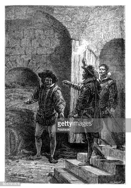 the gunpowder plot of 1605, often called the gunpowder treason plot or the jesuit treason, was a failed assassination attempt against king james i of england and vi of scotland by a group of provincial english catholics led by robert catesby - firework explosive material stock illustrations