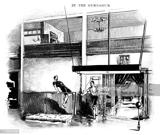 the gymnasium of the california athletic club in san francisco - leisure facilities stock illustrations, clip art, cartoons, & icons