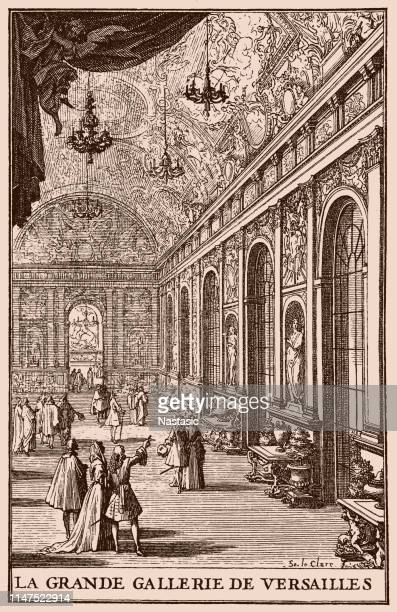 the hall of mirrors ,1684 by sebastien leclerc (1637-1714) (french: grande galerie or galerie des glaces) is the central gallery of the palace of versailles in versailles - chateau de versailles stock illustrations