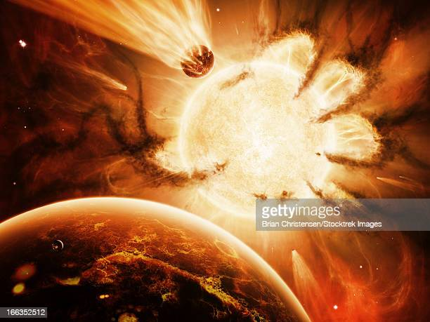 the hand of destiny nebula is devouring the star abigor. - nebula stock illustrations