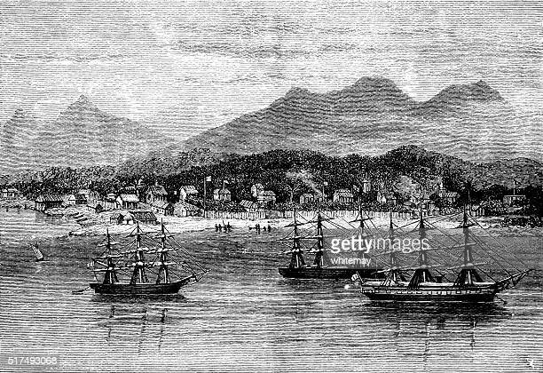 the harbour of tamatave - madagascar stock illustrations, clip art, cartoons, & icons