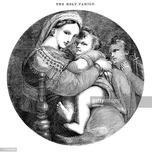 ilustraciones, imágenes clip art, dibujos animados e iconos de stock de la sagrada familia (victorian grabado en madera) - obesidad infantil