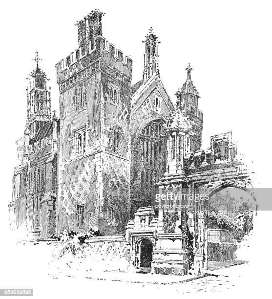 the honourable society of lincoln's inn in holborn, london, england - 19th century - holborn stock illustrations