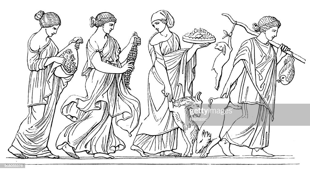 The Horae or Horai or Hours were the goddesses of the seasons and the natural portions of time bringing wedding gifts to Feleus. (Paris, Louvre.) : stock illustration