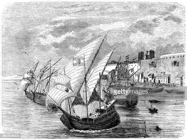 the hungarian fleet before naples - naples italy stock illustrations