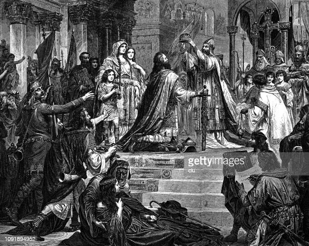 the imperial coronation of charlemagne - corona zon stock illustrations