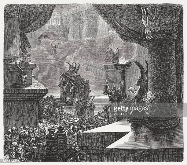 the inauguration of the solomonic temple, wood engraving, published 1880 - jerusalem stock illustrations, clip art, cartoons, & icons