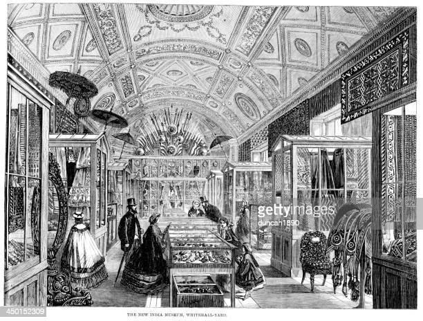 the india museum - display cabinet stock illustrations, clip art, cartoons, & icons