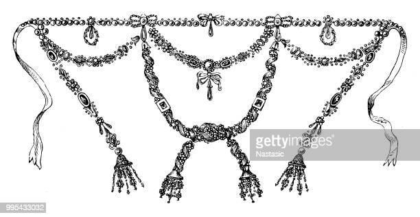 illustrazioni stock, clip art, cartoni animati e icone di tendenza di the infamous diamond necklace affair that helped fuel the french revolution - collana