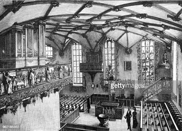 the interior of the city church in freudenstadt - protestantism stock illustrations