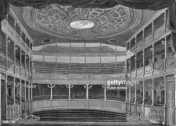The interior of the old Theatre Royal on Drury Lane, London. Original Artwork: Engraving by Howlett after Capon.