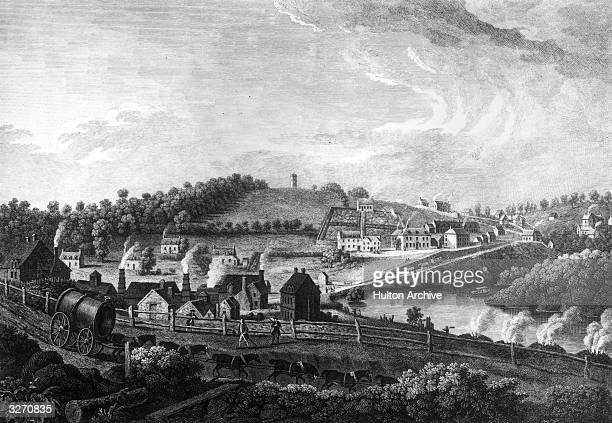 The iron foundry at Colebrookdale Shropshire where good quality pig iron is produced by smelting iron ore with coke instead of charcoal