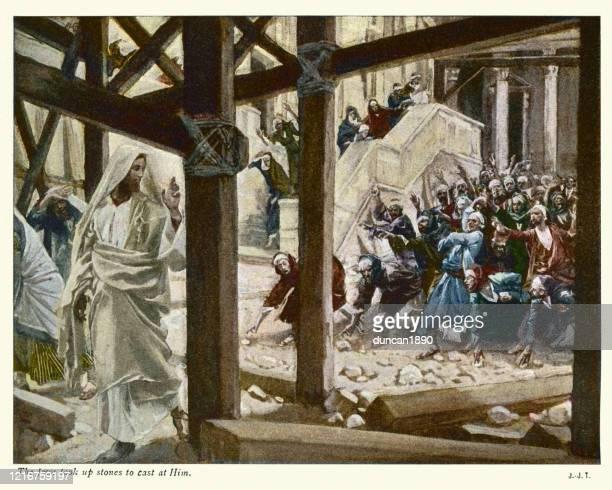 die juden nahmen steine, um ihn zu werfen - james tissot stock-grafiken, -clipart, -cartoons und -symbole