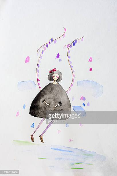 the joy of a girl - embracing stock illustrations