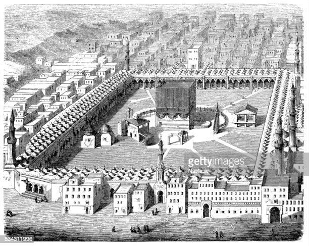 the kaaba, mecca, 19th century - mecca stock illustrations