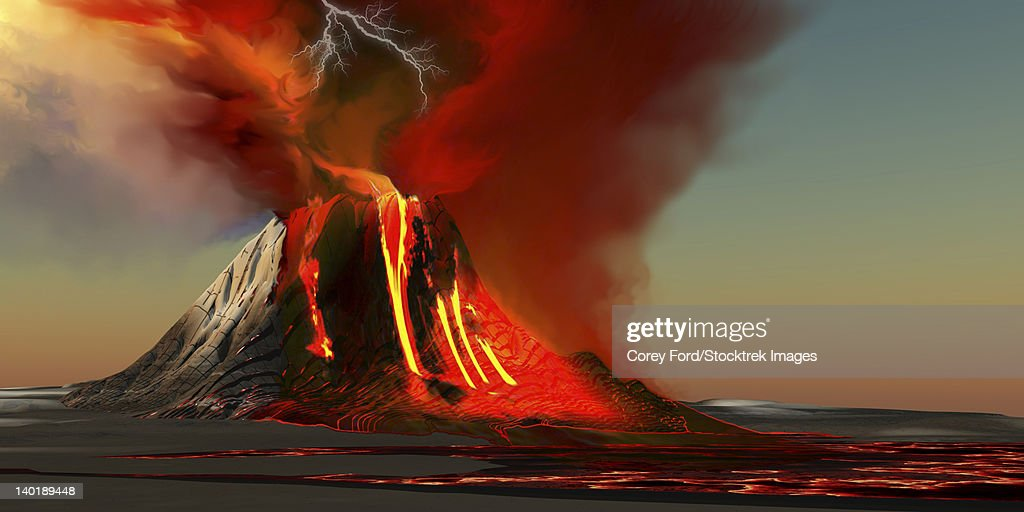 The Kilauea volcano erupts on the island of Hawaii with plumes of fire and smoke. Rivers of lava head to the ocean making new land. : stock illustration