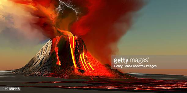 the kilauea volcano erupts on the island of hawaii with plumes of fire and smoke. rivers of lava head to the ocean making new land. - volcanic crater stock illustrations, clip art, cartoons, & icons