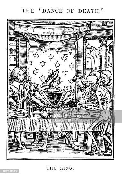 the king - dance of death - tarot cards stock illustrations, clip art, cartoons, & icons