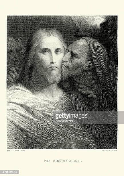 the kiss of judas - judas iscariot stock illustrations