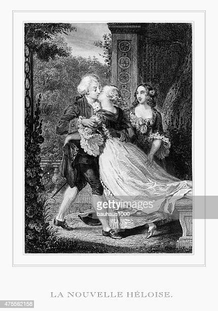 The Kiss of La Nouvelle Heloise (The New Heloise) Engraving
