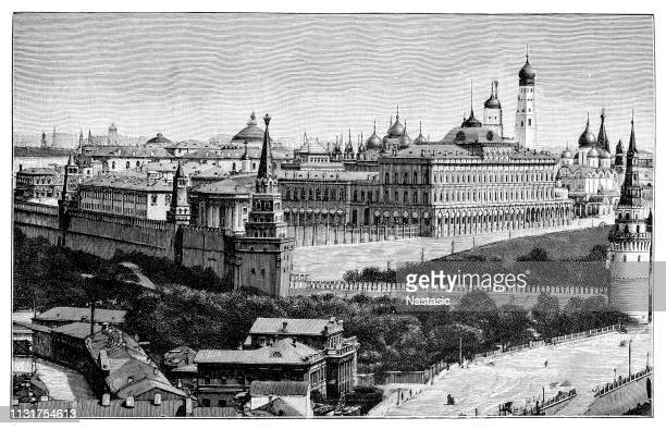 the kremlin in moscow - red square stock illustrations, clip art, cartoons, & icons