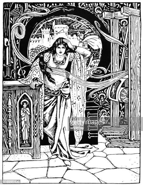 the lady of shalott - florence m. rutland - magic trick stock illustrations, clip art, cartoons, & icons
