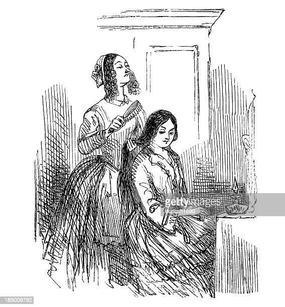illustrations, cliparts, dessins animés et icônes de lady de la femme de chambre - coiffeur humour