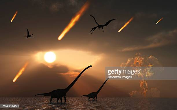 bildbanksillustrationer, clip art samt tecknat material och ikoner med the last days of dinosaurs caused by a giant asteroid impact. - paleolitico