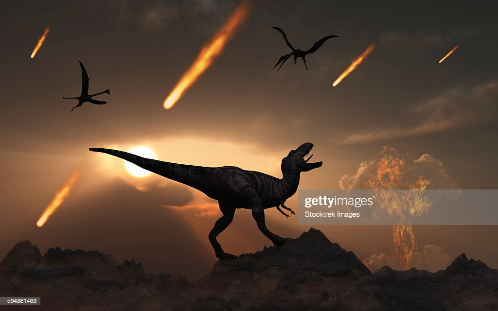 The last days of dinosaurs during the Cretaceous Period. : stock illustration