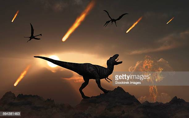 the last days of dinosaurs during the cretaceous period. - paleontology stock illustrations