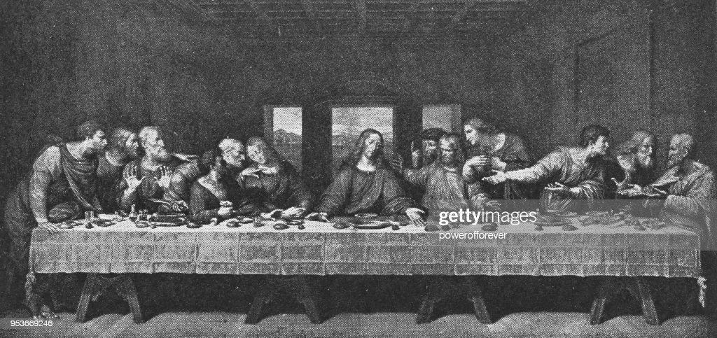 The Last Supper by Leonardo da Vinci - 19th Century : Stock Illustration