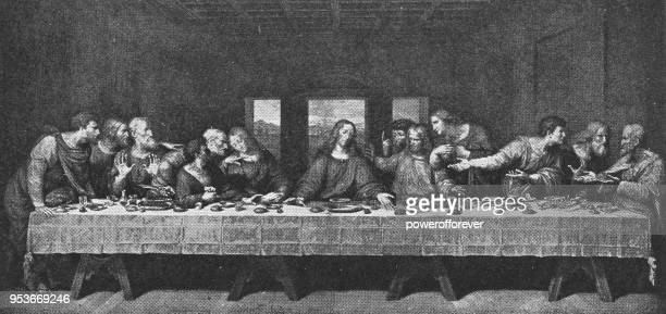 ilustraciones, imágenes clip art, dibujos animados e iconos de stock de la última cena de leonardo da vinci - siglo xix - leonardo da vinci
