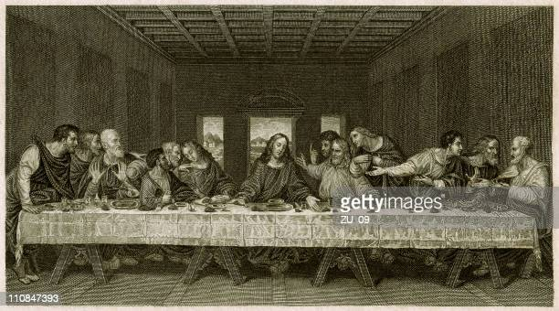 the last supper - by leonardo da vinci, published 1836 - milan stock illustrations, clip art, cartoons, & icons