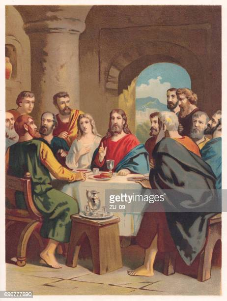 the last supper, chromolithograph, published in 1886 - jesus christ stock illustrations, clip art, cartoons, & icons