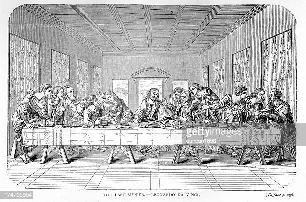 the last supper - last supper stock illustrations