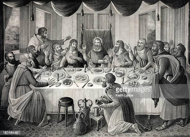 the last supper - judas iscariot stock illustrations