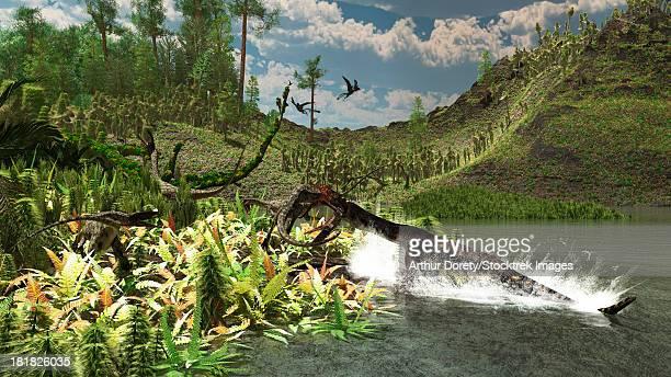 ilustraciones, imágenes clip art, dibujos animados e iconos de stock de the late triassic period circa 215 million years ago, featuring the 13 foot, semi oceanic nothosaurus catching an unaware ceolophysis. - triásico