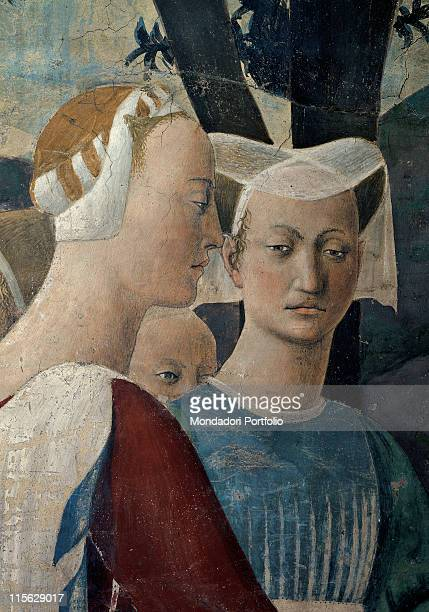 Italy, Tuscany, Arezzo, San Francesco church, Main Chapel, right wall, middle register. Detail. Adoration of the Holy Wood, half-bust of two...