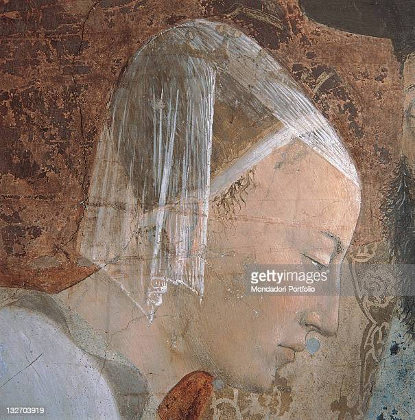 Italy, Tuscany, Arezzo, San Francesco church, Main Chapel. Detail. The Meeting of Solomon and Queen of Sheba, face of Queen of Sheba, profile,...
